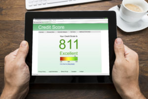 Tablet displaying a person's credit score